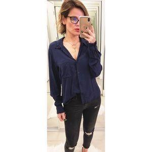 Aritzia Community Blue Button Down Shirt